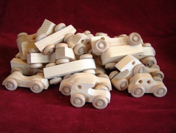 Party Pack of 30 Unfinished Pine Mini Vehicles