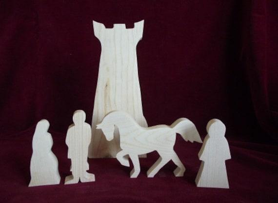 Rapunzel Play Set, 5 pieces, Unfinished Pine
