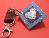 Heart vintage map mini key ring journal with leather fob.