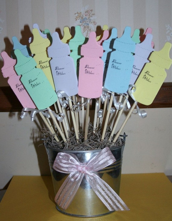 Baby shower wish advice bottles favor decoration by for Baby shower function decoration