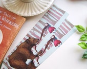 Art Bookmark, Girl and Bear Bookmark, Fairytale Bookmark, Cute Bear Bookmark, Woodland forest bookmark, whimsical bookmark, Seduction