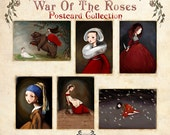 6 Postcard Pack, War of the Roses Postcard Collection, gift pack, art postcards, artist postcard