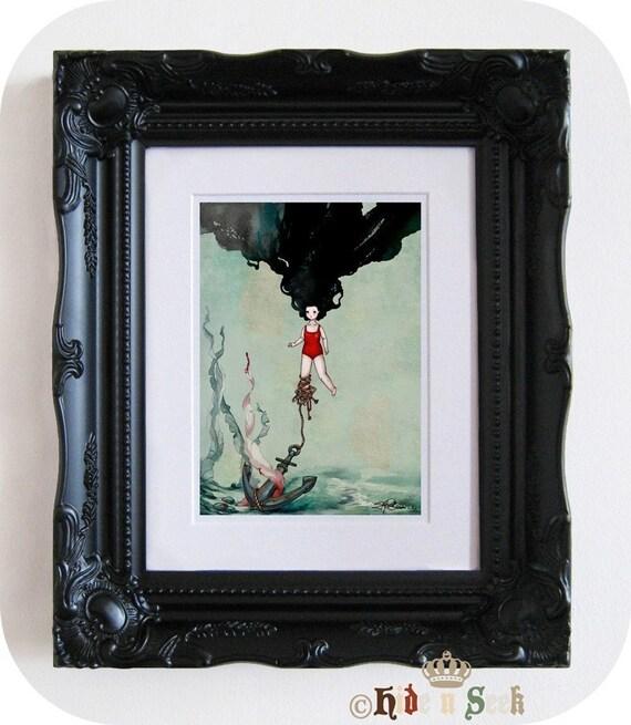 Nautical Art Print Girl Siren Mermaid art Underwater artwork Sea Illustration Marine swimsuit