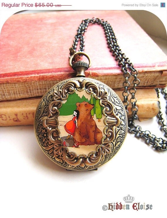 Girl and Bear Pocket Watch Locket, fairytale art locket, artist pendant, animal jewelry, bear art accessory, i miss the pine trees E07