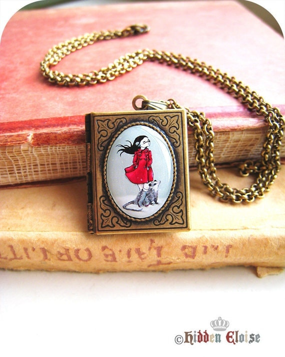 Girl and possum locket, Fairytale Book Locket, Opossum necklace, animal pendant, gifts for her, art locket, whimsical, winter gifts B12