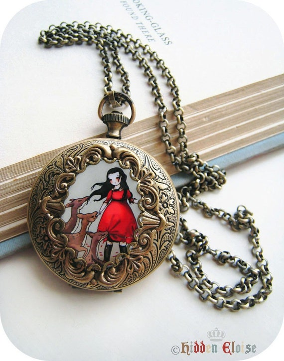 Large Pocket Watch Art Locket -Envy- E03