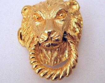 Gold Plated Mimi di N Lion Head Buckle - Mimi di N jewelry - Lion Head Knocker