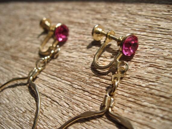 Vintage Screw Back Earrings - Gold Hoops - Pink Rhinestones
