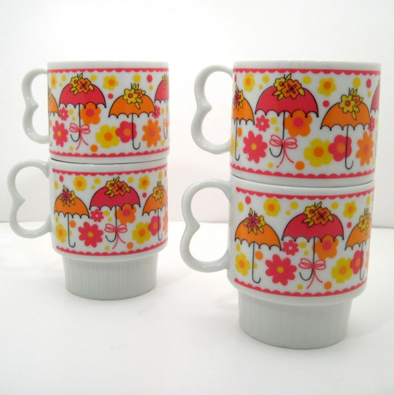 Vintage Stacking Coffee Mugs - Umbrella Coffee Mugs