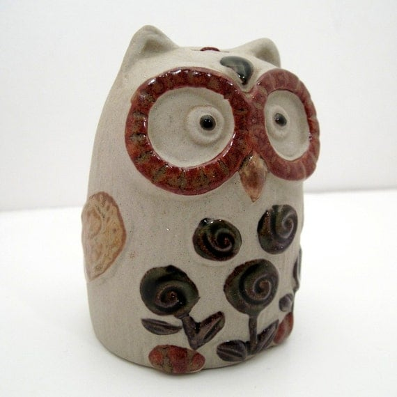 Vintage Collectable Stoneware Owl Bell - Ceramic Owl - Japanese Pottery