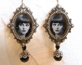 Louise Brooks Earrings - Silent Film Earrings - Flapper Earrings - Art Deco Earrings - Gothic earrings - Lulu Earrings