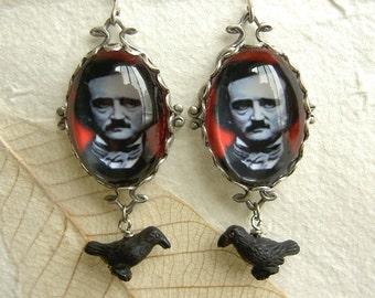 Edgar  Poe Earrings - Blood Red and Raven Black