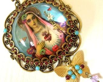 Mary Necklace, Mary Pendant Necklace, Blessed Mother, Catholic Jewelry, Turquoise Gypsy Necklace, Gypsy Jewelry, Boho Necklace, ex voto