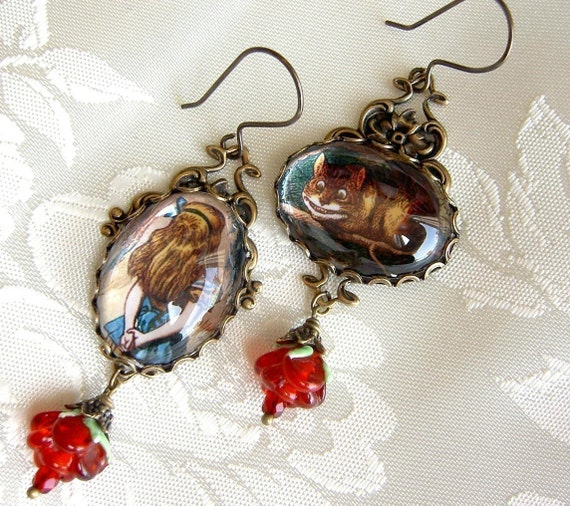 The Cheshire Cat is Not Very Helpful - Alice and Cheshire Cat Earrings in Brass - Color- With Lampwork Rose Drops