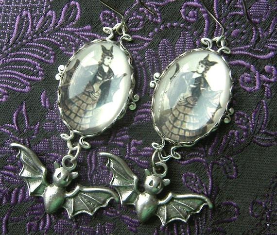 Rather Fabulous Victorian Bat Girl Earrings