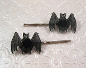 Vintage biology illustration bat silver finish barrette hair pin pair
