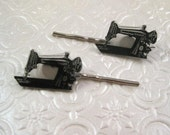 Vintage sewing machine illustration silver finish barrette hair pin pair