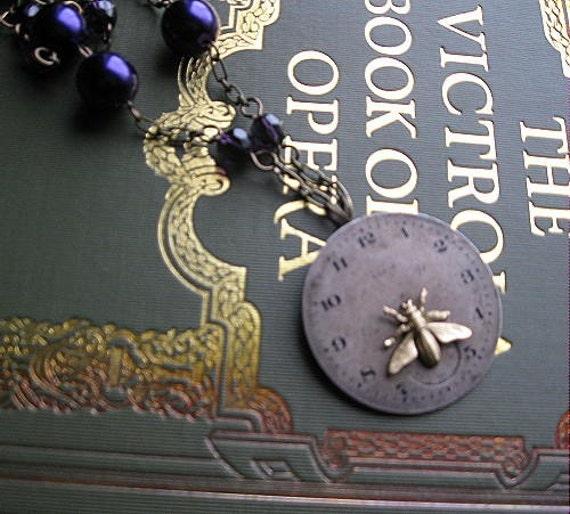 Violets Lament vintage watch face necklace