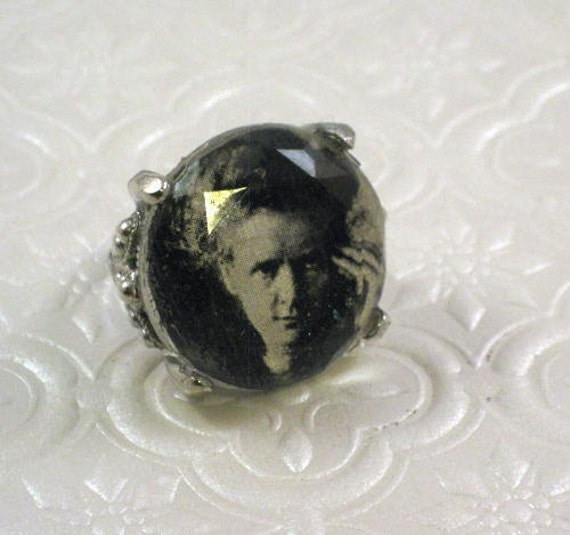 Marie Curie portrait cocktail ring