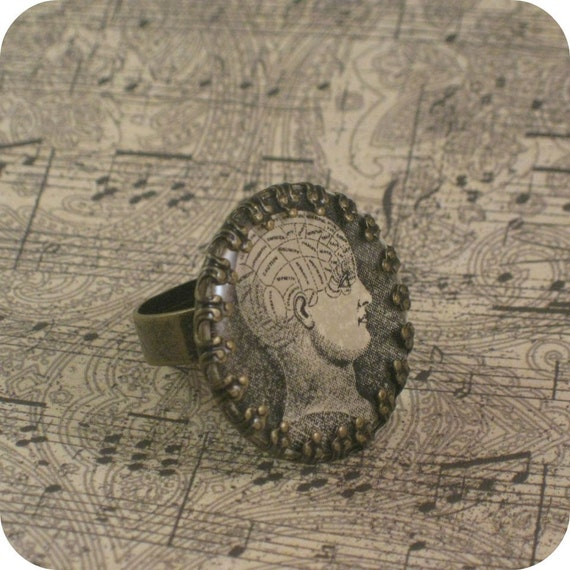 Aged brass bezel and resin vintage phrenology diagram adjustable ring