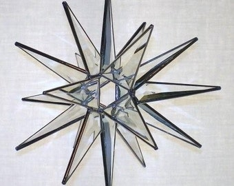 18 Point Bevel Stained Glass Moravian Star Tree Topper