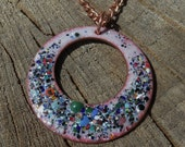 Copper Enameled necklace / multi colored speckles / blue white green black red