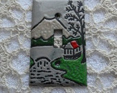 Copper Enameled Light Switch Cover mountain scene volcano tree green red single toggle
