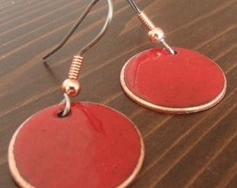 Copper Enameled Earrings round dangle / red