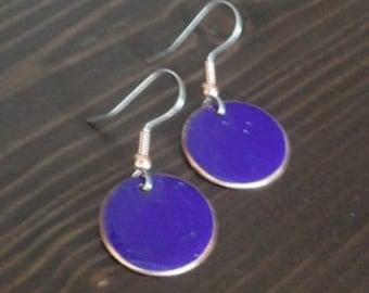 Copper Enamel Earring round dangle / cobalt blue