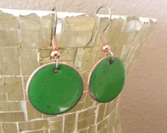 Earrings green Copper enamel earring round dangle / jungle green