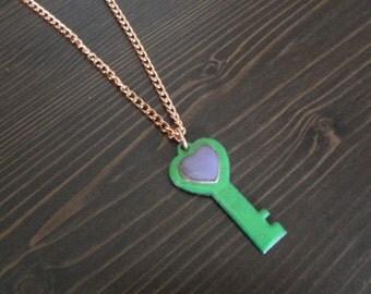 Heart Key necklace Copper Enamel necklace / heart key / purple green