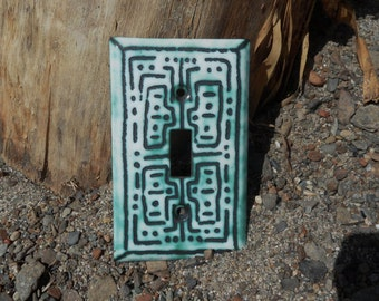 Switchplate Copper enameled lightswitch cover / maze single toogle switchplate