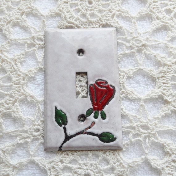 Switchplate Copper Enamel Single Lightswitch cover / single red rose with white background / enameled copper single toogle