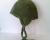 Crocheted Toddler Ear Flap Hat/Cap - Fern Green