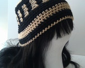 Woman's Crochet Stripes Hat Cloche Cap Winter Hat