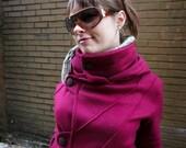 COTYLEE Pintuck cranberry fleece jacket (UNLINED)
