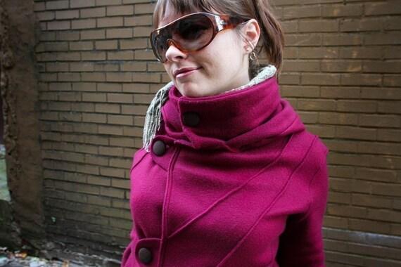 SALE  COTYLEE Pintuck Cranberry fleece jacket (UNLINED)