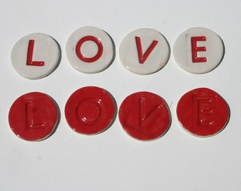 """Mosaic Tile Porcelain Ceramic Letters Round """"Abby"""" Made to Order"""