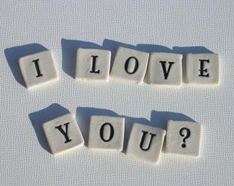 "Mosaic Tile Ceramic Porcelain Letters ""Poopa"" font Made to Order"