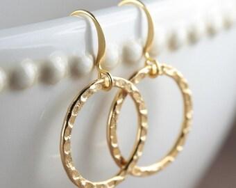 Gold Circle Earrings, Gold Earrings, Gold Hoop Earrings, Hammered Gold Earrings #403
