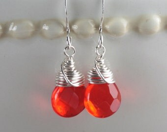 Red Silver Earrings - Red wire wrapped silver earrings - Bridesmaid Earrings - Bridal Jewelry
