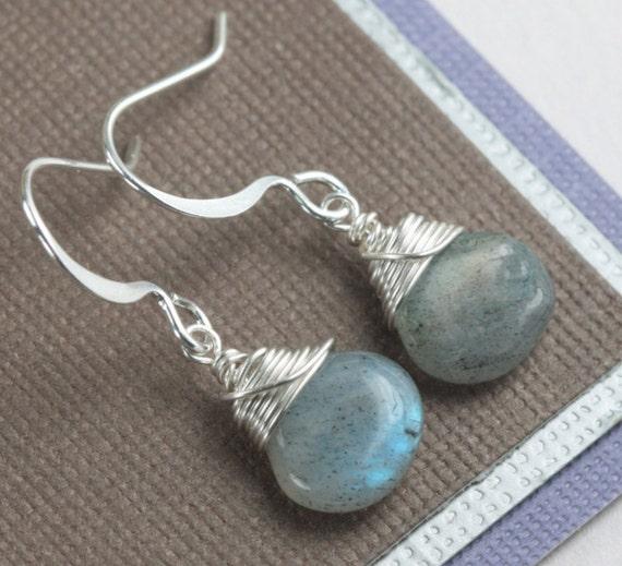 Labradorite and Silver Earrings Labradorite Earrings Wire Wrapped Silver Earrings