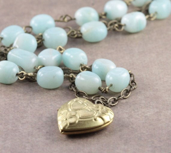 Vintage Style Brass Heart Locket and Amazonite Stones