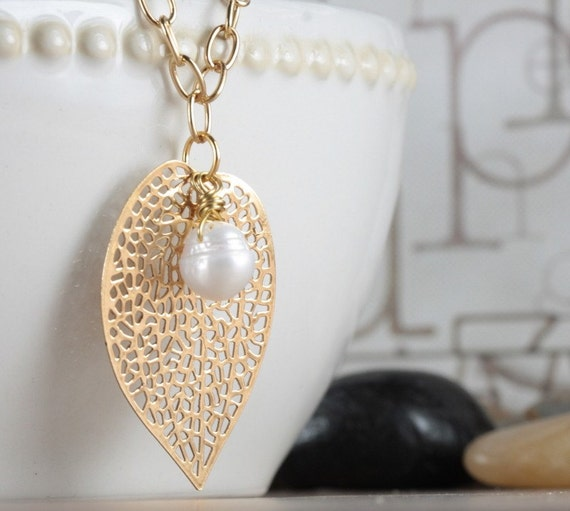Golden Sun. Gold Leaf and Pearl Necklace