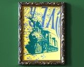 Victorian Locomotive Upcycled Make-Ready Print with FREE SHIPPING