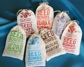 Any 7 Seed Bombs for Guerilla Gardening with Combined S/H Choose from Herb, Edible Flowers, Dog & Cat Friendly and Regional Varieties