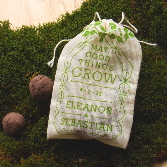 Personalized Wedding Favor Seed Bombs - Herbs or Flowers for Eco Friendly Woodland Boho Chic Outdoor Wedding