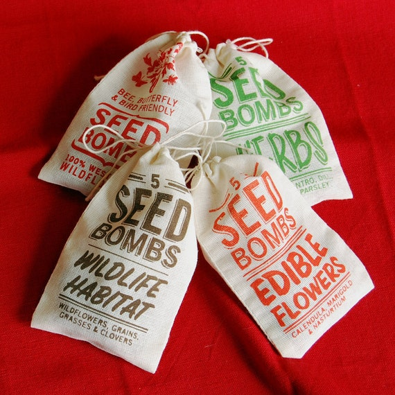 Any 4 Seed Bombs for Guerilla Gardening with Combined S/H Choose from Herbs, Edible Flowers, Dog & Cat Friendly and Regional Varieties