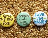 Gardening Buttons - Set of 3