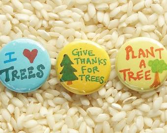 Tree Hugger Buttons - Set of 3